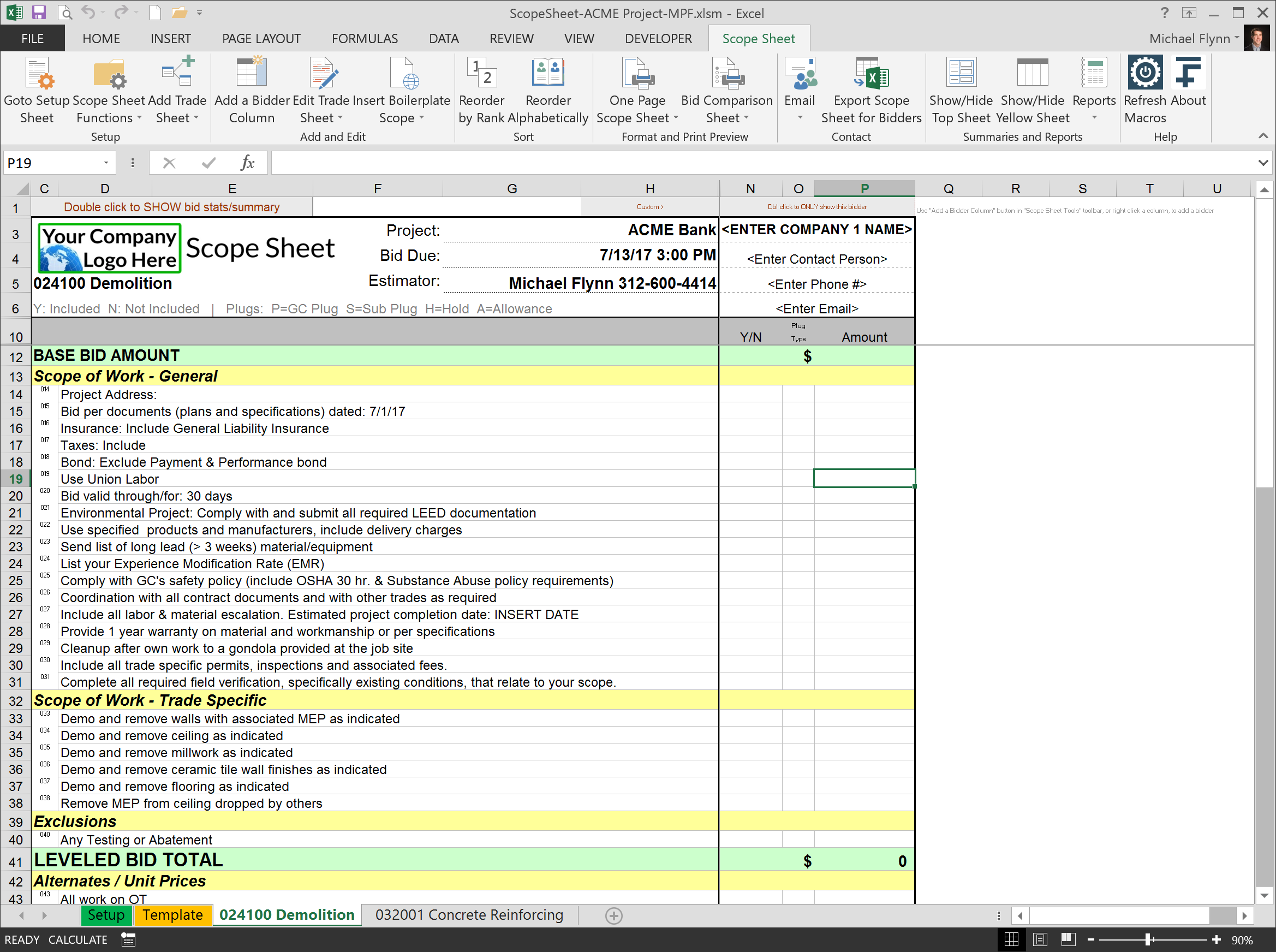 demolition scope of work template - excel scope sheet 14fathoms llc level bids create
