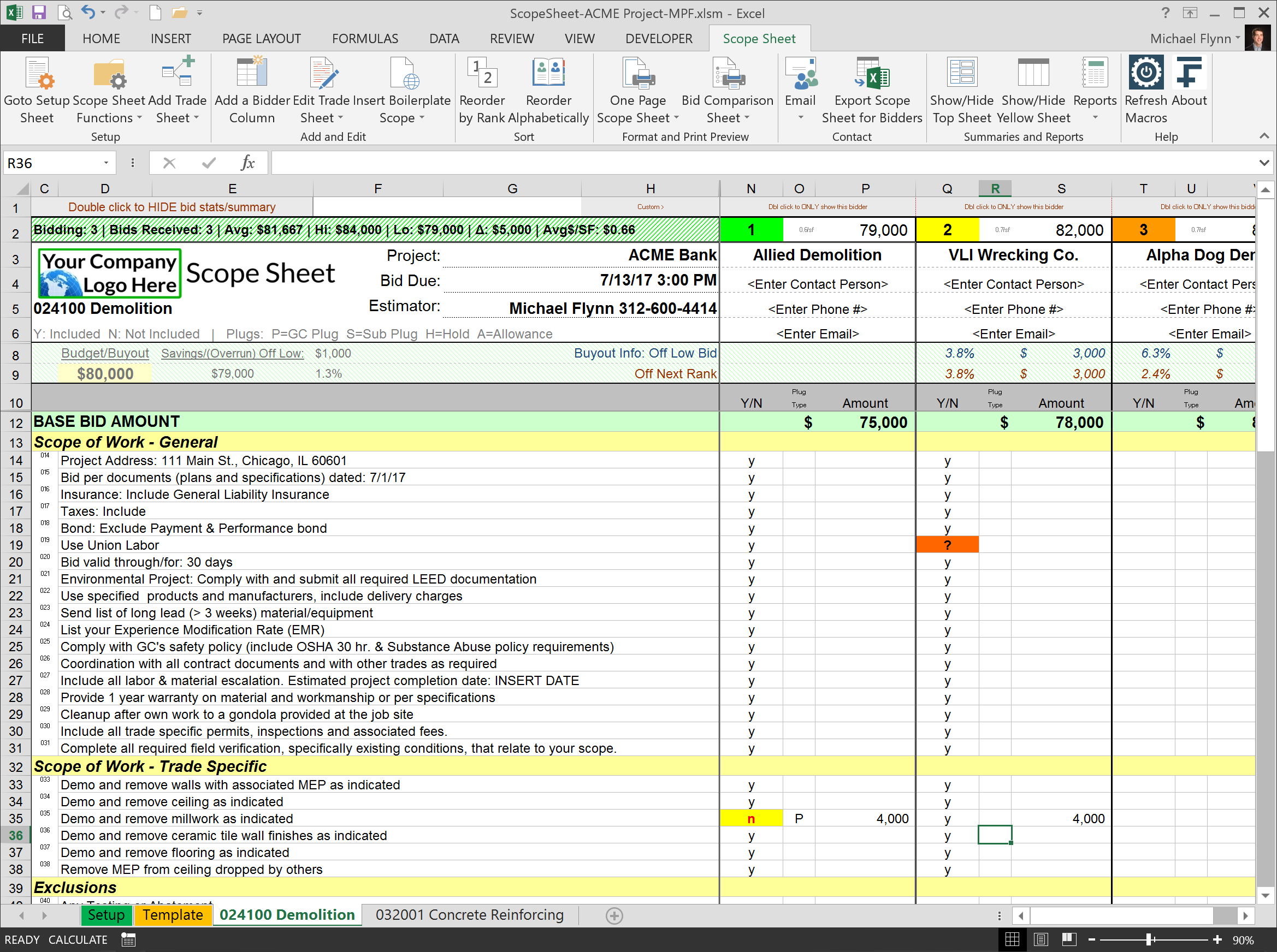 Scope Of Work Excel Template