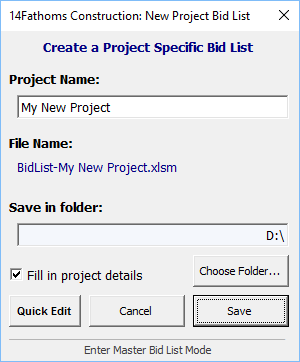 create a new project bid list