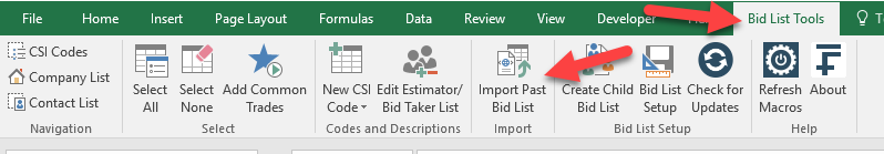 Import Bid List Button
