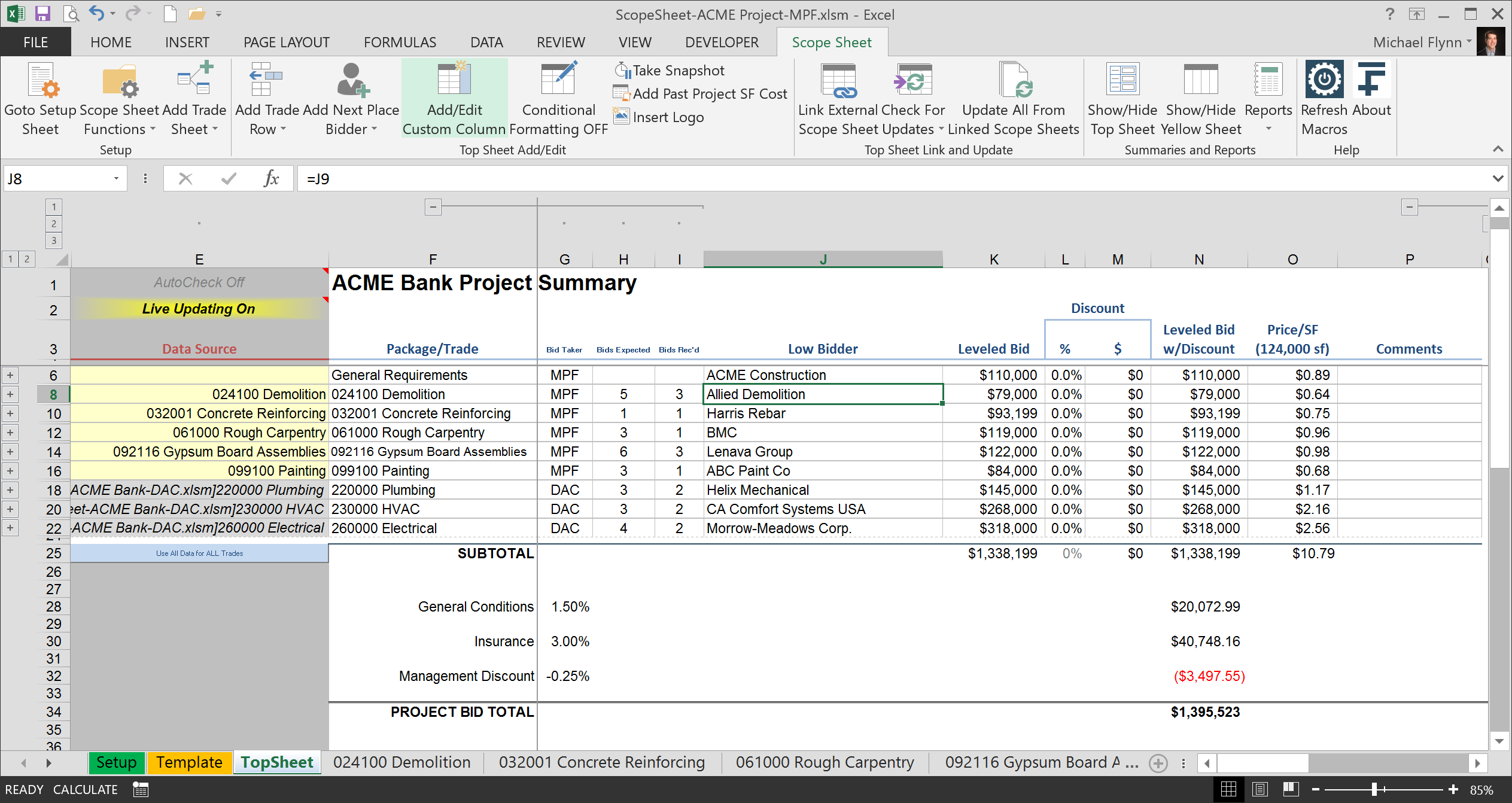 Excel Scope Sheet 14fathoms Llc Level Bids Create Project Summary
